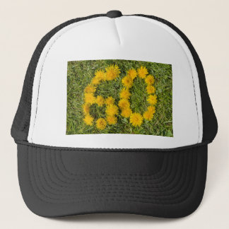 number sixty designed with dandelion on the lawn trucker hat