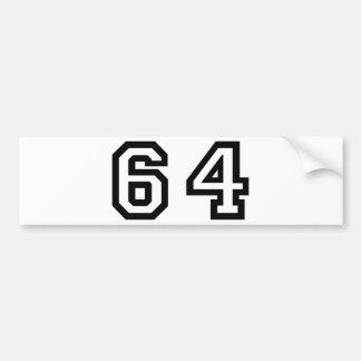 Number Sixty Four Bumper Sticker