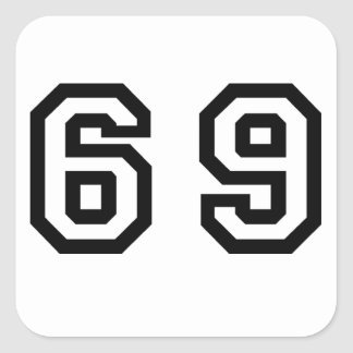 Number Sixty Nine Square Sticker