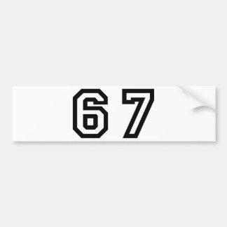 Number Sixty Seven Bumper Sticker