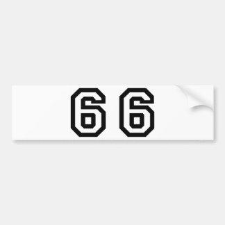 Number Sixty Six Bumper Sticker