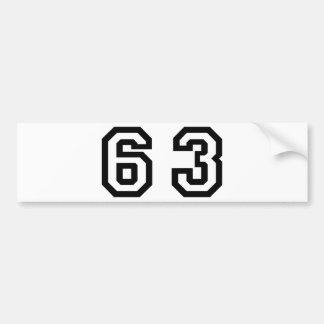 Number Sixty Three Bumper Sticker