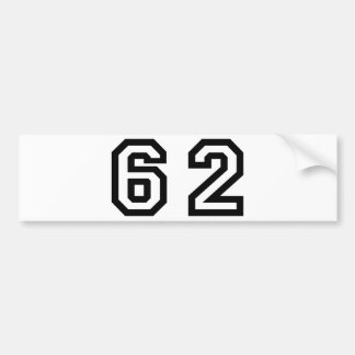 Number Sixty Two Bumper Sticker