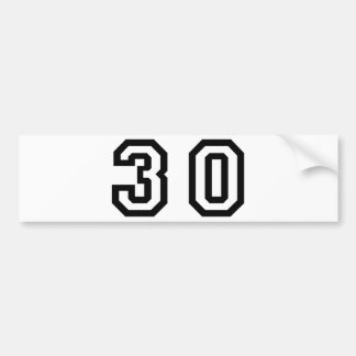 Number Thirty Bumper Sticker