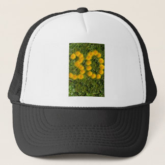number thirty drawn with dandelion on the lawn trucker hat