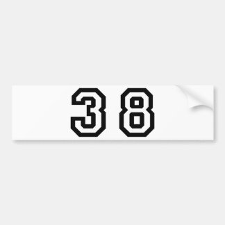 Number Thirty Eight Bumper Sticker