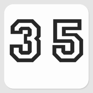 Number Thirty Five Square Sticker