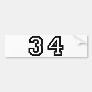 Number Thirty Four Bumper Sticker