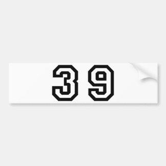 Number Thirty Nine Bumper Sticker