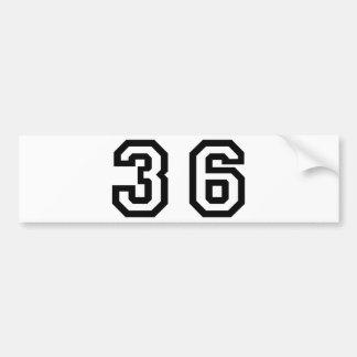 Number Thirty Six Bumper Sticker