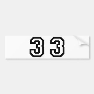 Number Thirty Three Bumper Sticker