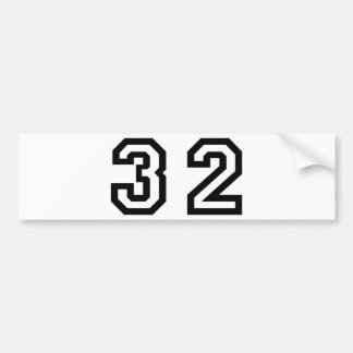 Number Thirty Two Bumper Sticker