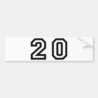 Number Twenty Bumper Sticker