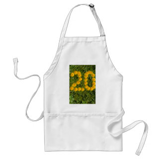 number twenty drawn with dandelion on the lawn standard apron