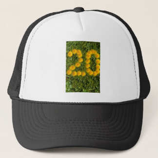 number twenty drawn with dandelion on the lawn trucker hat