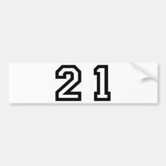 Number Twenty One Bumper Sticker