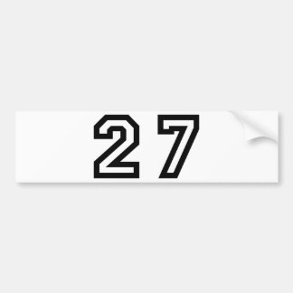 Number Twenty Seven Bumper Sticker