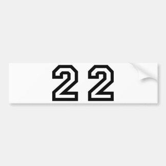 Number Twenty Two Bumper Sticker