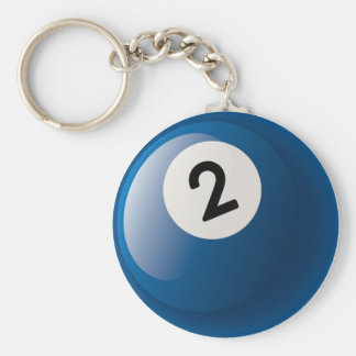 NUMBER TWO BILLIARDS BALL BASIC ROUND BUTTON KEY RING