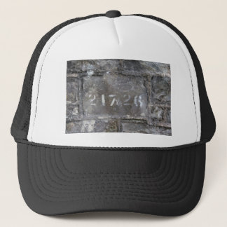 Numbered brick trucker hat
