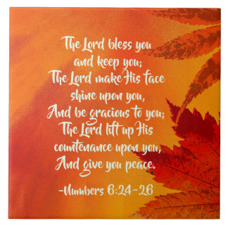 Numbers 6:24-26 The Lord Bless You, Fall Leaves Tile