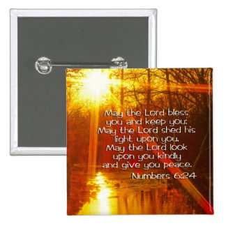 NUMBERS 6:24 BIBLE VERSE - MAY THE LORD BLESS YOU 15 CM SQUARE BADGE
