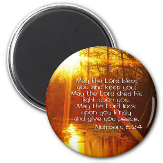NUMBERS 6:24 BIBLE VERSE - MAY THE LORD BLESS YOU 6 CM ROUND MAGNET