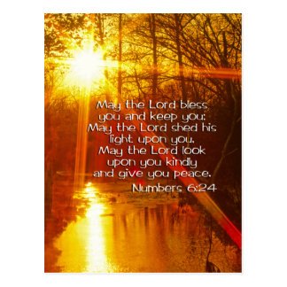 NUMBERS 6:24 BIBLE VERSE - MAY THE LORD BLESS YOU POSTCARD