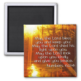 NUMBERS 6:24 BIBLE VERSE - MAY THE LORD BLESS YOU SQUARE MAGNET