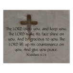 Numbers 6:24 inspirational Bible Verse with cross Poster