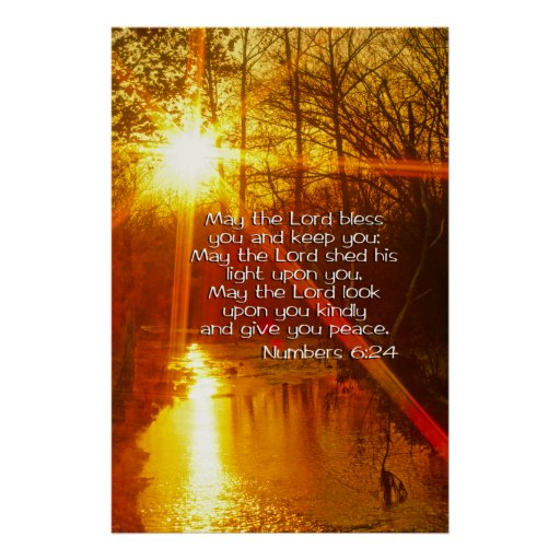 Numbers 6 24 May The Lord Bless You Poster Zazzle Co Uk