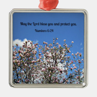 Numbers 6:24 May the Lord bless you.... Silver-Colored Square Decoration