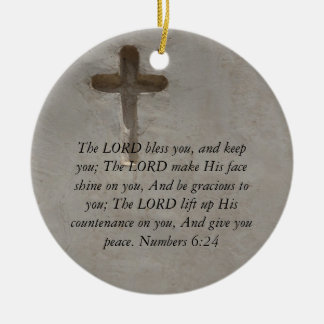 Numbers 6:24 UPLIFTING BIBLE VERSE with cross Christmas Ornament