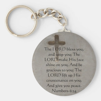 Numbers 6:24 UPLIFTING BIBLE VERSE with cross Key Ring