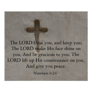 Numbers 6:24 UPLIFTING BIBLE VERSE with cross Poster