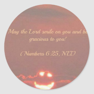 Numbers 6:25 Smiley Face Round Sticker