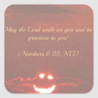 Numbers 6:25 Smiley Face Square Sticker