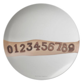 numbers affixed to the arm,ands close-up plates