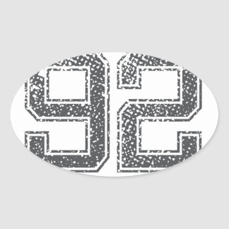 Numbers Gray_92.png Oval Sticker