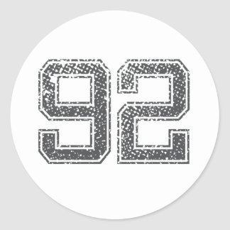 Numbers Gray_92.png Round Sticker