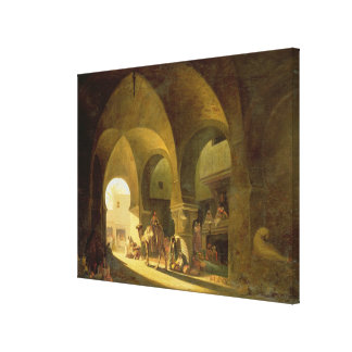 Numerous Figures in a North African Bazaar, 1839 ( Canvas Print