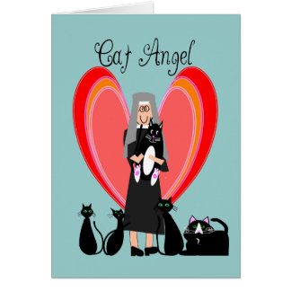 Nun Cat Angel Art Gifts Greeting Card