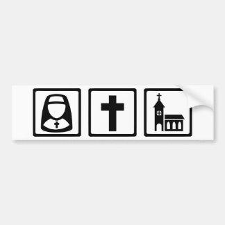 Nun cross church bumper stickers