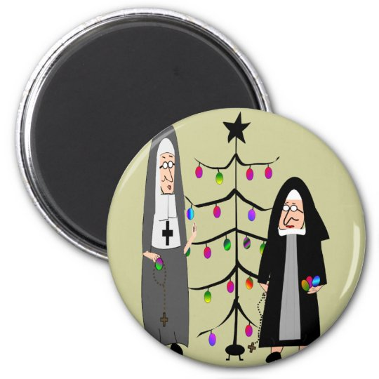 "Nun Gifts ""Decorating The Christmas Tree"" Magnet"