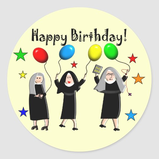Nun Happy Birthday Cards & Gifts Classic Round