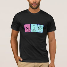 Shirt featuring the name Nuno spelled out in symbols of the chemical elements
