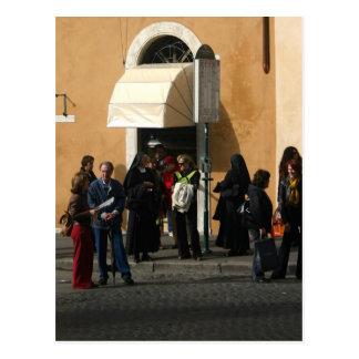 Nuns at bus stop postcard