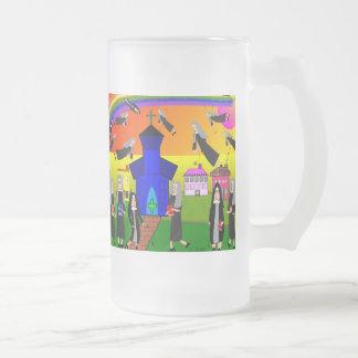 """Nuns """"Flying Nuns"""" Whimsical Art Frosted Glass Mug"""