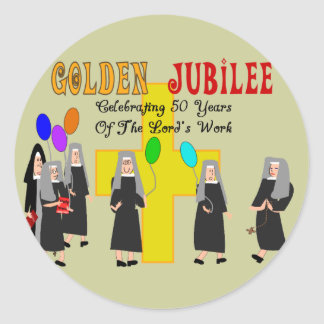 Nuns Golden Jubilee Gifts Classic Round Sticker
