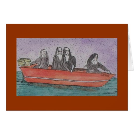 nuns in a boat card